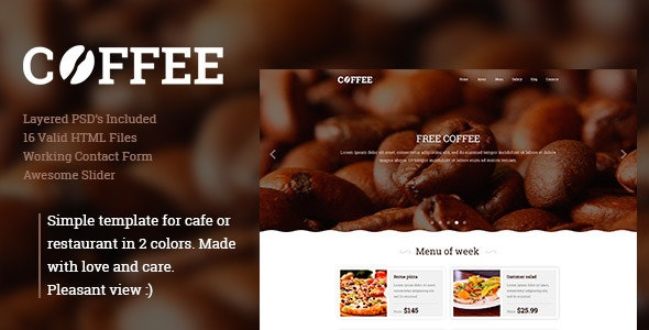 Coffee -  Responsive Restaurant Cafe Site Template - Food Retail