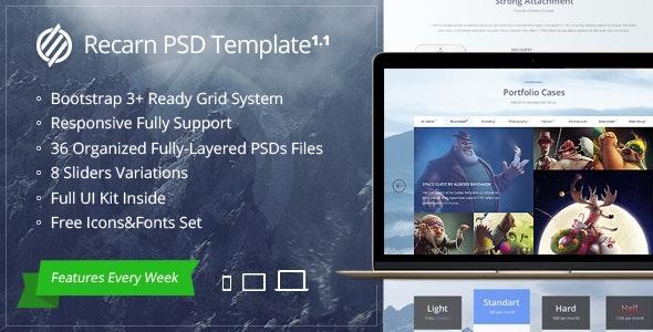 Recarn PSD Template - Photoshop UI Templates
