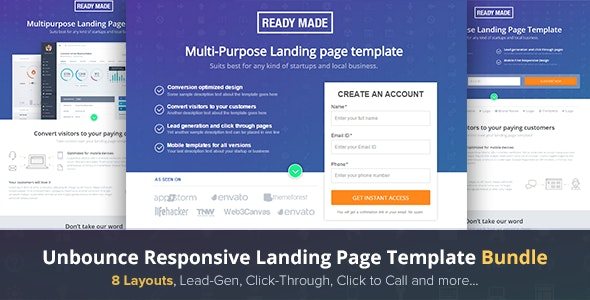 Unbounce Landing Page Template - Readymade - Unbounce Landing Pages Marketing