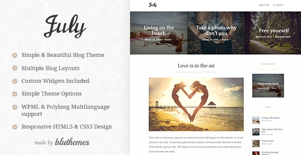 July | Simple & Elegant WordPress Blog Theme - Personal Blog / Magazine