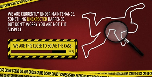 Crime Scene - Coming Soon Template - Specialty Pages Site Templates