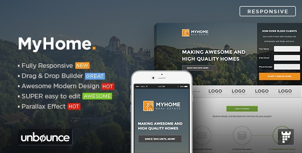 MYHOME - Real Estate Unbounce Template - Unbounce Landing Pages Marketing