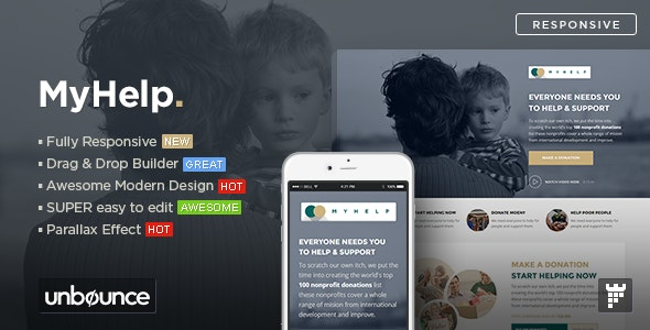 MyHelp - Non-Profit Unbounce Landing page Template - Unbounce Landing Pages Marketing