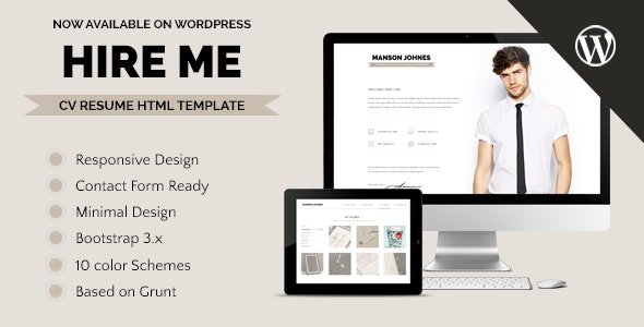 Hireme - Responsive Resume WordPress Theme - Personal Blog / Magazine
