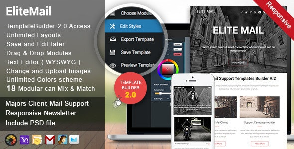 Elite Responsive Email + Template Builder Access - Newsletters Email Templates