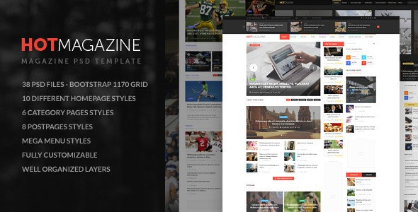 HOTMAGAZINE | Magazine PSD Template - Corporate Photoshop