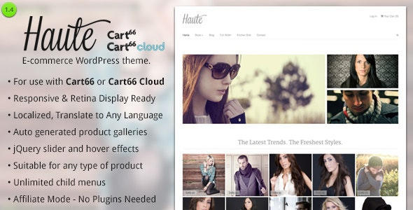Haute - Ecommerce WordPress Theme for Cart66 - Miscellaneous eCommerce