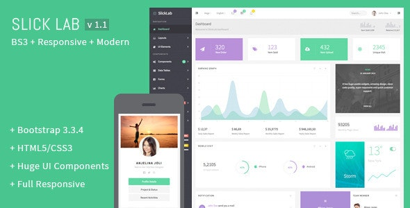 SlickLab - Responsive Admin Dashboard Template - Admin Templates Site Templates