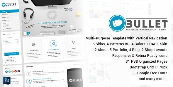 Bullet - Multipurpose Vertical Menu PSD Template - Corporate Photoshop
