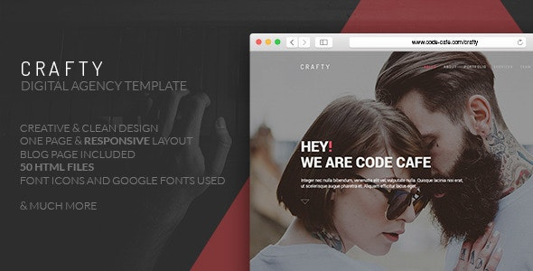 Crafty - One Page Digital Agency Template - Portfolio Creative