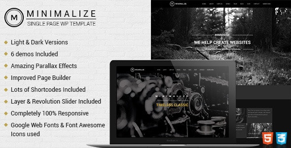 Minimalize | Single Page WordPress - Portfolio Creative