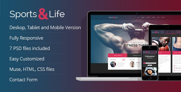 Sports&Life - Gym & Fitness Muse Template  - Corporate Muse Templates