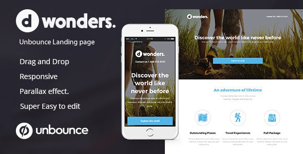 Dwonders Travel Landing Page For Unbounce - Unbounce Landing Pages Marketing