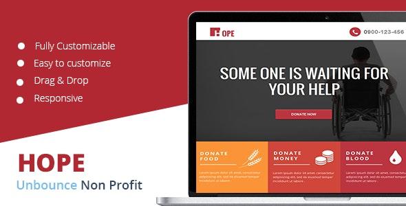 Hope - Non Profit Unbounce Landing page - Unbounce Landing Pages Marketing