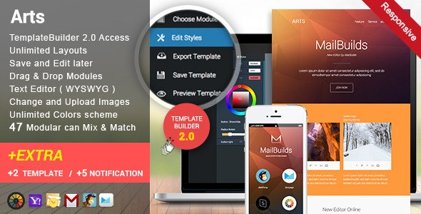 Arts - Responsive Email + Templatebuilder Access - Newsletters Email Templates