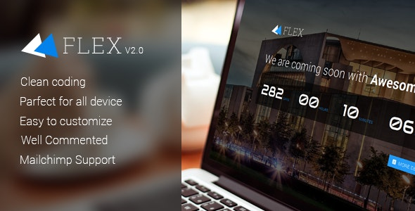 Flex Responsive Coming Soon Template - Under Construction Specialty Pages