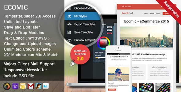 Ecomic Responsive Email + Template Builder Access - Newsletters Email Templates