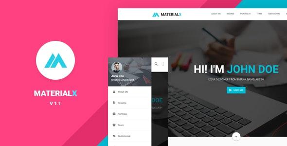 MaterialX - Material Design Personal Template - Personal Site Templates