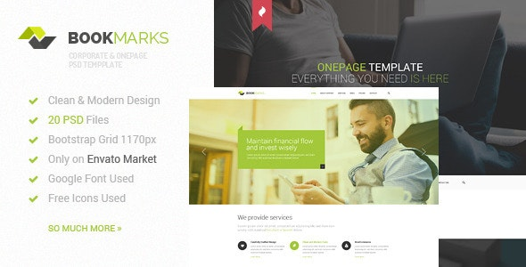 BookMarks - Corporate & OnePage PSD Template - Corporate Photoshop