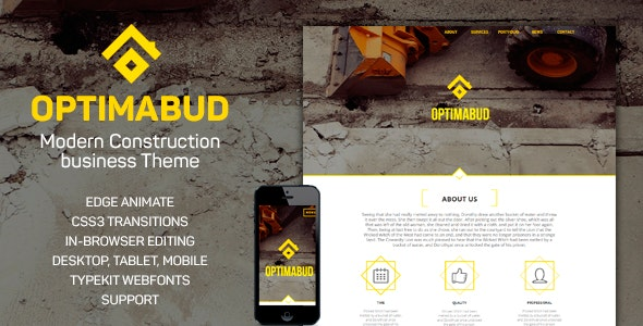 Optimabud-Construction, Building Business  - Landing Muse Templates