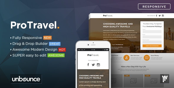 ProTravel - Travel Agency Unbounce Template - Unbounce Landing Pages Marketing