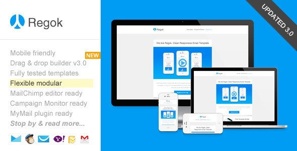 Regok, Responsive Newsletter with Template Builder - Newsletters Email Templates