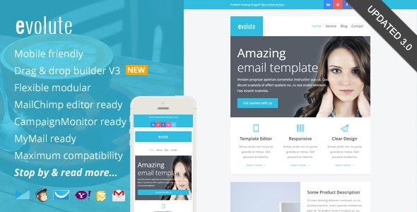 Evolute, Responsive Newsletter + Template Editor - Catalogs Email Templates