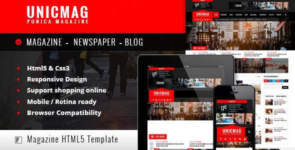 UnicMag - HTML5 Responsive Template - Corporate Site Templates