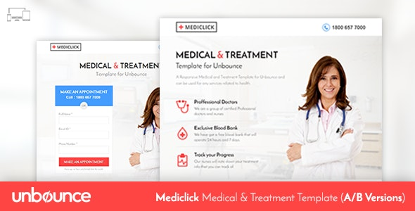 Unbounce Medical Landing Page Template - Mediclick - Unbounce Landing Pages Marketing