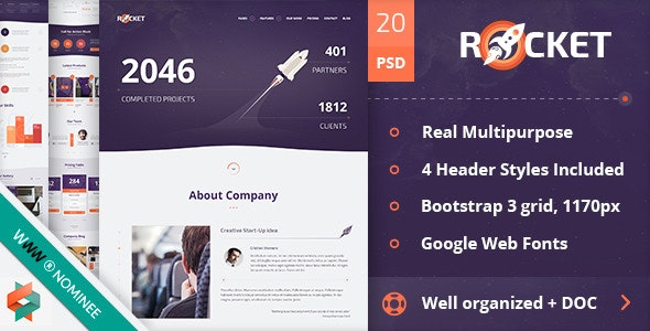 Rocket - Creative Multipurpose PSD Template - Creative Photoshop