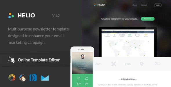 Helio - Responsive Email Template + Online Editor - Email Templates Marketing