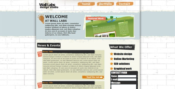 Wall Labs Grunge Style Design Template - Creative Site Templates