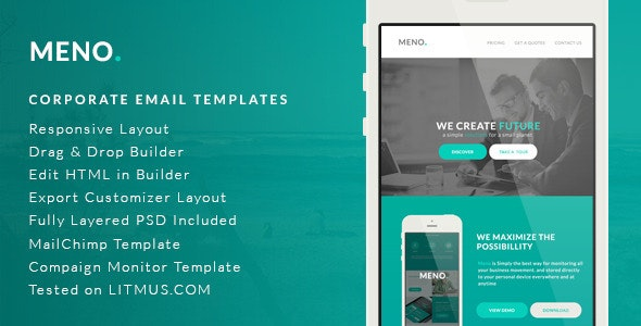 Corporate Email Template - Meno + Builder Access - Email Templates Marketing