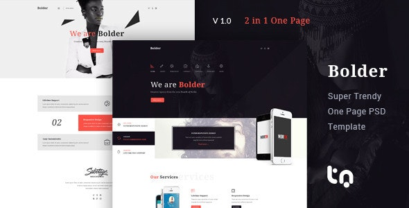 Bolder - Trendy One Page PSD Template - Corporate Photoshop