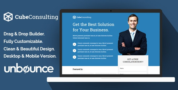 Cube Consulting Landing Page Template - Unbounce  - Unbounce Landing Pages Marketing
