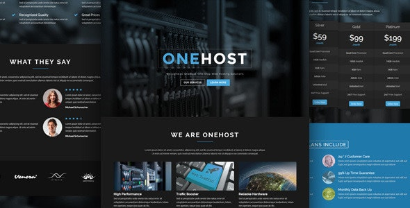 Onehost - One Page Unbounce Hosting Template - Unbounce Landing Pages Marketing