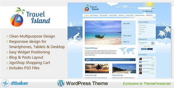 Travel Island WordPress - WooCommerce eCommerce