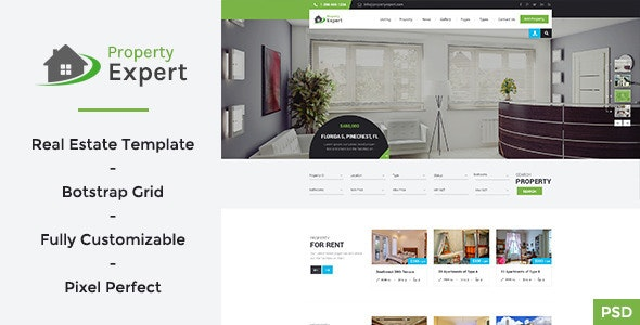Property Expert - Real Estate PSD Template - Business Corporate