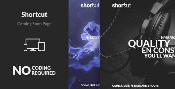Shortcut - Minimal Responsive Coming Soon Page - Under Construction Specialty Pages