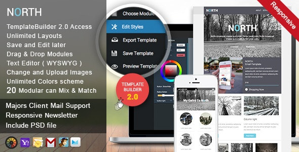 North | Responsive Email + Template Builder - Newsletters Email Templates