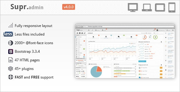 Supr - Responsive Dashboard Admin Template by SuggeElson
