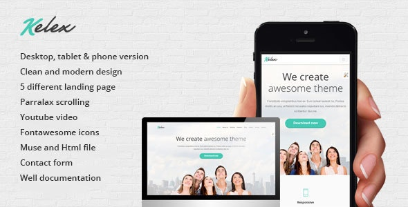 Kelex - Clean and Modern Landing Page Muse Template - Landing Muse Templates