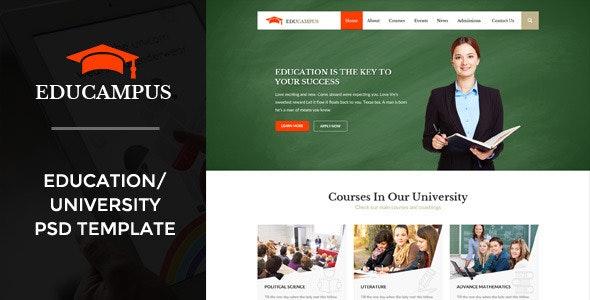 Educampus   Education/University PSD Template - Corporate Photoshop