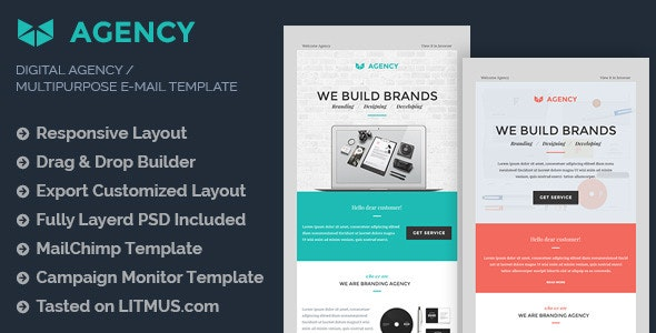 Digital Agency E-mail Template + Builder Access - Email Templates Marketing
