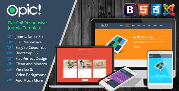 Opic! - Flat One Page Responsive Joomla Template
