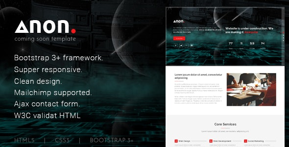 Anon Responsive Coming Soon Template - Under Construction Specialty Pages