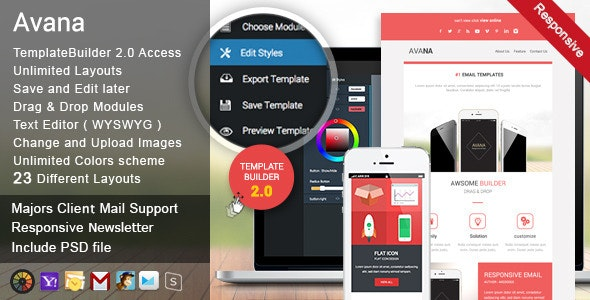 Avana - Responsive Email + MailBuild Online - Newsletters Email Templates