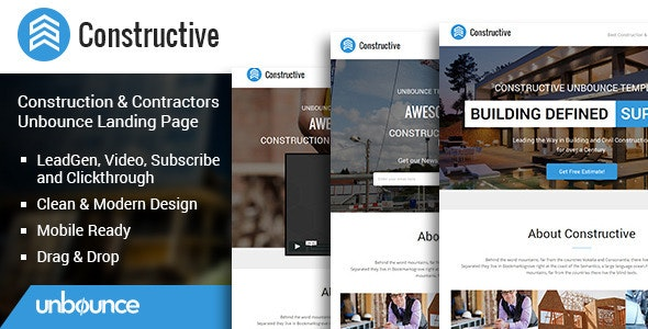 Constructive - Contractors Unbounce Landing Page - Unbounce Landing Pages Marketing