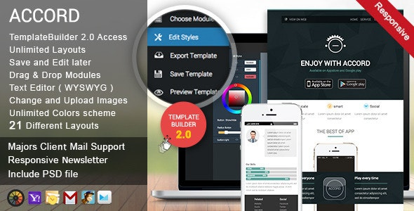Accord - Responsive Email + TemplateBuilder - Email Templates Marketing