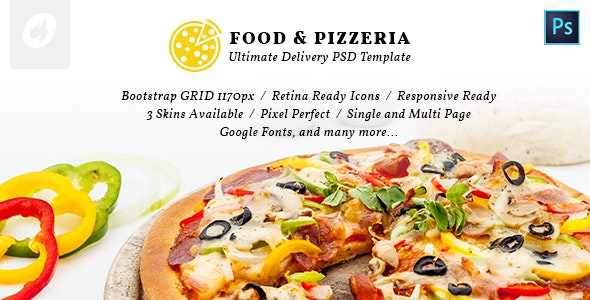 Food & Pizzeria - Ultimate Delivery PSD Template - Food Retail